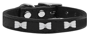 White Bow Widget Genuine Leather Dog Collar Black 10