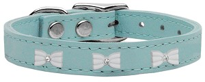 White Bow Widget Genuine Leather Dog Collar Baby Blue 10