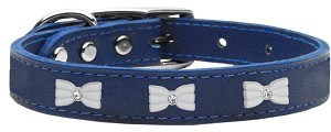 White Bow Widget Genuine Leather Dog Collar Blue 20