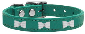 White Bow Widget Genuine Leather Dog Collar Jade 16