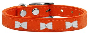White Bow Widget Genuine Leather Dog Collar Orange 12