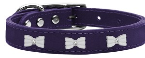 White Bow Widget Genuine Leather Dog Collar Purple 10