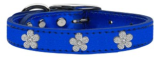 Silver Flower Widget Genuine Metallic Leather Dog Collar Blue 22