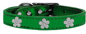 Silver Flower Widget Genuine Metallic Leather Dog Collar Emerald Green 18