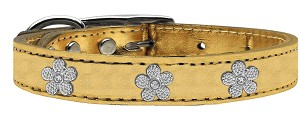 Silver Flower Widget Genuine Metallic Leather Dog Collar Gold 18