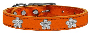 Silver Flower Widget Genuine Metallic Leather Dog Collar Orange 14