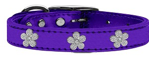 Silver Flower Widget Genuine Metallic Leather Dog Collar Purple 22