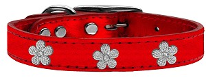 Silver Flower Widget Genuine Metallic Leather Dog Collar Red 24