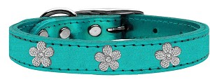 Silver Flower Widget Genuine Metallic Leather Dog Collar Turquoise 10