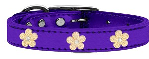 Gold Flower Widget Genuine Metallic Leather Dog Collar Purple 24