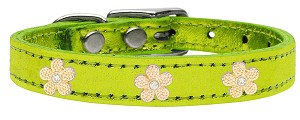 Gold Flower Widget Genuine Metallic Leather Dog Collar Lime Green 18