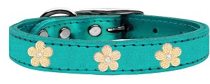 Gold Flower Widget Genuine Metallic Leather Dog Collar Turquoise 22