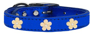 Gold Flower Widget Genuine Metallic Leather Dog Collar Blue 22