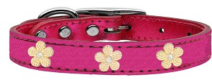 Gold Flower Widget Genuine Metallic Leather Dog Collar Pink 16