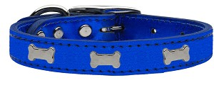 Silver Bone Widget Genuine Metallic Leather Dog Collar Blue 12