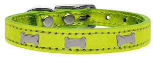 Silver Bone Widget Genuine Metallic Leather Dog Collar Lime Green 12