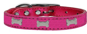 Silver Bone Widget Genuine Metallic Leather Dog Collar Pink 12