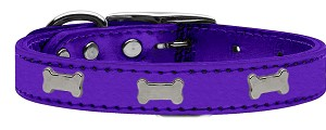 Silver Bone Widget Genuine Metallic Leather Dog Collar Purple 26