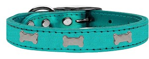 Silver Bone Widget Genuine Metallic Leather Dog Collar Turquoise 12