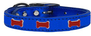 Red Bone Widget Genuine Metallic Leather Dog Collar Blue 16