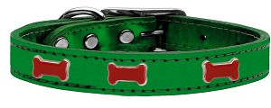 Red Bone Widget Genuine Metallic Leather Dog Collar Emerald Green 12