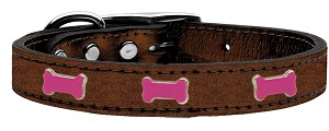 Pink Bone Widget Genuine Metallic Leather Dog Collar Bronze 18
