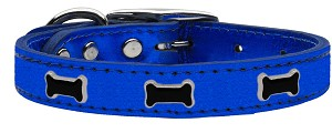 Black Bone Widget Genuine Metallic Leather Dog Collar Blue 12