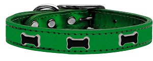 Black Bone Widget Genuine Metallic Leather Dog Collar Emerald Green 16