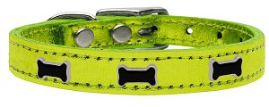 Black Bone Widget Genuine Metallic Leather Dog Collar Lime Green 10