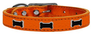 Black Bone Widget Genuine Metallic Leather Dog Collar Orange 16