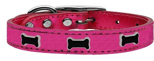 Black Bone Widget Genuine Metallic Leather Dog Collar Pink 22