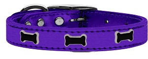 Black Bone Widget Genuine Metallic Leather Dog Collar Purple 20