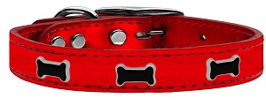 Black Bone Widget Genuine Metallic Leather Dog Collar Red 24