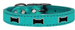 Black Bone Widget Genuine Metallic Leather Dog Collar Turquoise 16