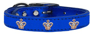 Gold Crown Widget Genuine Metallic Leather Dog Collar Blue 22