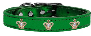 Gold Crown Widget Genuine Metallic Leather Dog Collar Emerald Green 26
