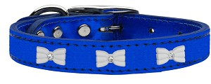 White Bow Widget Genuine Metallic Leather Dog Collar Blue 14