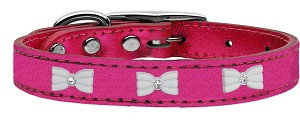 White Bow Widget Genuine Metallic Leather Dog Collar Pink 24