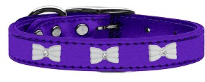 White Bow Widget Genuine Metallic Leather Dog Collar Purple 16
