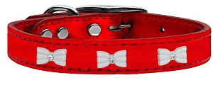White Bow Widget Genuine Metallic Leather Dog Collar Red 18