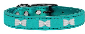 White Bow Widget Genuine Metallic Leather Dog Collar Turquoise 22