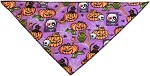 Purple and Pumpkins Tie-On Pet Bandana Size Small