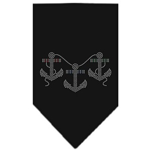 Anchors Rhinestone Bandana Black Large
