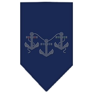 Anchors Rhinestone Bandana Navy Blue Small
