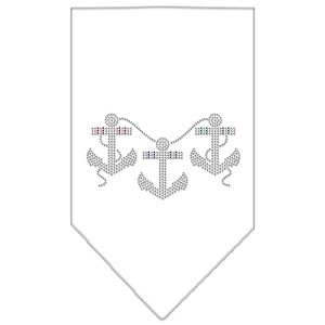 Anchors Rhinestone Bandana White Large