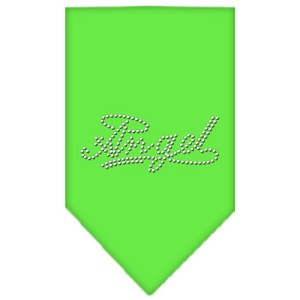 Angel Rhinestone Bandana Lime Green Large