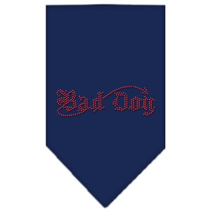 Bad Dog Rhinestone Bandana Navy Blue Small
