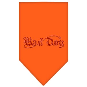 Bad Dog Rhinestone Bandana Orange Small