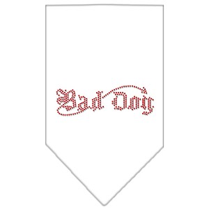 Bad Dog Rhinestone Bandana White Large