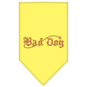 Bad Dog Rhinestone Bandana Yellow Large